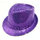 Fashion LED Flashing Sequins Light Up Fedora Jazz Cap Hat Dance Party Trilby Hat