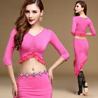Womens Modal Belly Dance Practice Costume Set Indian Dancewear Cropped Top Skirt