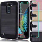 For LG Phoenix 2 Hybrid Armor Case Protective Matte Cover + Tempered Glass Film
