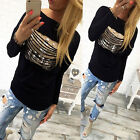 Fashion Women Girl Casual Ripped Long Sleeve T-Shirt Top Cotton Loose Pullover .