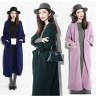 Women Lady  Cashmere  Wool  Loose Thick Long Cardigan Coat Jacket Sweater