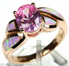 Rose Gold Plated Pink Topaz & Pink Fire Opal 925 Sterling Silver Ring Sz 6,8