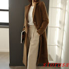 Hot Chic Women Lady Super Long Woolen Blended Coat Overcoat Double Breasted Size