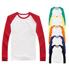 Long Sleeve Plain T-Shirt Lot Baseball Tee Raglan Jersey Sports Men's Tee Portab