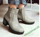 Retro Women's Ankle Boots New Fashion Side Zip New Fashion Block Size Stylish