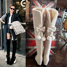 Women's Stretchy Faux Suede Wedge Heel Over The Knee High Boots Shoes New