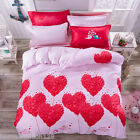 Red Hearts Print Quilt Cover King Queen Full Pink Valentine's Duvet Cover Set