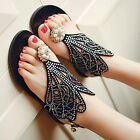 Women Sexy Beach Summer Hollow Flower Rhinestone Flip Flop Flat Sling Sandals