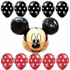 "27""HUGE Mickey Mouse Head Foil Balloon Latex Shower Birthday Party Supplies lot"
