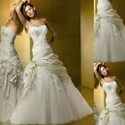 New A-line ivory lace Wedding Dress Bridal Gown Custom Size:2 4 6 8 10 12 14 16+
