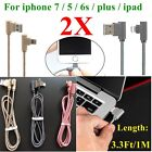 2pcs 90 Degree Right Angle USB Charger Sync Data Cable For iphone 7 6 Plus 5s 1M