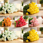 6 Pcs Real Touch PU Tulips Flower Single Stem Bouquet Wedding Home Decor