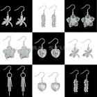 1 Pair New Fashion Women Elegant Silver Crystal Ear Stud Lady Earrings Jewelry