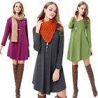 Womens Blouse Long Sleeve Ladies T Shirt Casual Loose Irregular Tunic Dress Tops