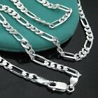 Women Men 2mm Silver Plated Figaro Necklace Chain Pendant