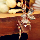 New Crystal Angel Wings Long Chain Necklace Butterfly Fairy Necklace Jewelry New