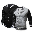 Mens Casual University Letterman Baseball Varsity Jacket Button Coat Sweatshirt