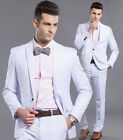 White Mens Tuxedos Formal One Button Slim Fit Wedding Suits Jacket Pants