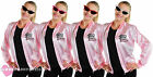 ROCK N ROLL LADIES PINK JACKET AND GLASSES 1950'S FANCY DRESS COSTUME MUSICAL