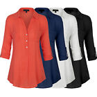 *CLEARANCE* Women's 3/4 Sleeve Button Down Pullover Blouse Shirts with Pocket