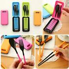 3 in 1 Foldable Portable Picnic Camping Chopsticks Spoon Fork Set + Storage Box