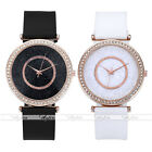 Unisex Round Rhinestone PU Strap Quartz Watch Faux Leather Rose Gold Wristwatch