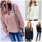 Boho Cozy Lace Up Oversized Cable Knit Sweater Ivory Black Mauve w/Grommets S-L