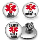 Medical Alert Diabetic Type 1 Type 2 Glass Top Pin Brooch Tie Tack Condition