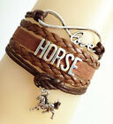 Infinity Love HORSE With Cute Money Horse Charms Suede Leather Bracelet-Brown