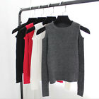 Fashion women knitted off shoulder tops tight slim T-shirt long sleeve BlouseLAU