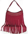 Trinity Ranch® Studded Hobo w/ Long Soft Leather Fringe- 4 Color Choices