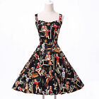 Women's Square Neck Retro 50s 60s Vintage Casual Swing Party prom Evening Dress