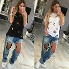 Fashion Casual Womens Blouse Hollow Beggar Look Round Neck Short Sleeve T-Shirts