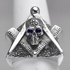 REAL HEAVY STERLING SILVER free mason MASONIC RING Skull Sapphire eyes Jewelry