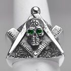 STERLING SILVER free mason MASONIC RING Skull Emeralds