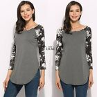 Women Long Sleeve Blouse Ladies Floral O-Neck Tops Jumper Shirts Casual TXWD