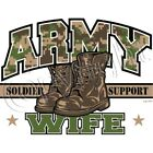 Camo Army Wife Soldier Support Pullover Hoodie Sweatshirt Sizes S-3XL Military