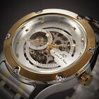 4 Color KS Royal Carving Steel Skeleton Automatic Mechanical Men's Leather Watch