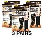 NEW WITH BOX 3  PAIRS MIRACLE COPPER SOCKS ANTI FATIGUE COMPRESSION BLACK UNISEX