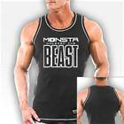 NEW Men's Monsta Clothing UNLEASH THE BEAST Ribbed Bodybuilding Tank Top: Black