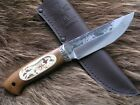 AWESOME HUNTIG KNIFE WITH HIGH CARBON FORGED STEEL AND STAG INCRUSTATION HANDLE