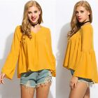 Fashion Women V-Neck Flare Sleeve Pleated High Low Hem Loose Chiffon Blouse Tops