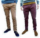 Mens Slim skinny cotton chino trousers sand plum 28 30 32 34 36 indie pleated