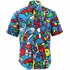 Mens Loud Shirt Retro Psychedelic Funky Party REGULAR Short Sleeve BLUE