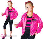 GIRLS ROCK N ROLL COSTUME PINK SATIN JACKET TOP TROUSERS 1950'S FANCY DRESS