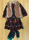 NWT Catimini Girls 3Pc  Dress with Vest and Tights  RETAIL $ 269.00