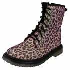 Girls Spot On Pink Leopard Print Ankle Boots Style h5028
