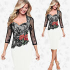 UK Womens Ladies Peplum Formal Cocktail Party Midi Lace Bodycon Dress Size 8-20