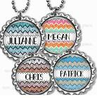 """Boho Chevron Personalized Child's Name Bottle Cap Necklace 24"""" Chain Jewelry"""
