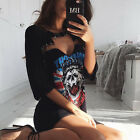 New Women Short Sleeve V Neck Skull Art Shirt Dress Casual Party Beach SunDress